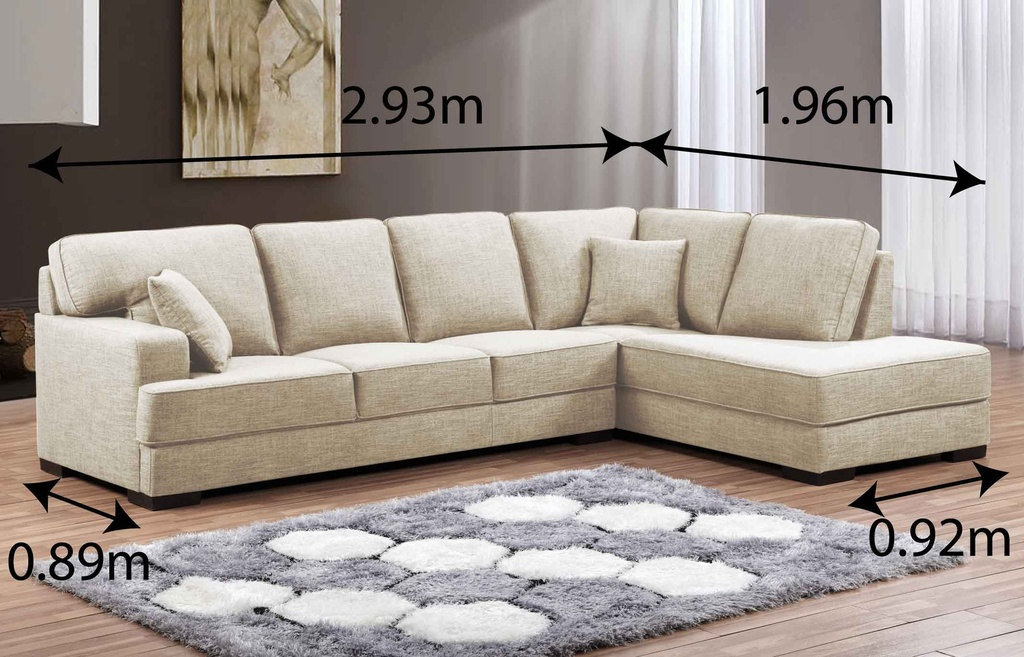 SOFA TELA L* LY8677# FW1046-6#  3+CLEOP CREMA