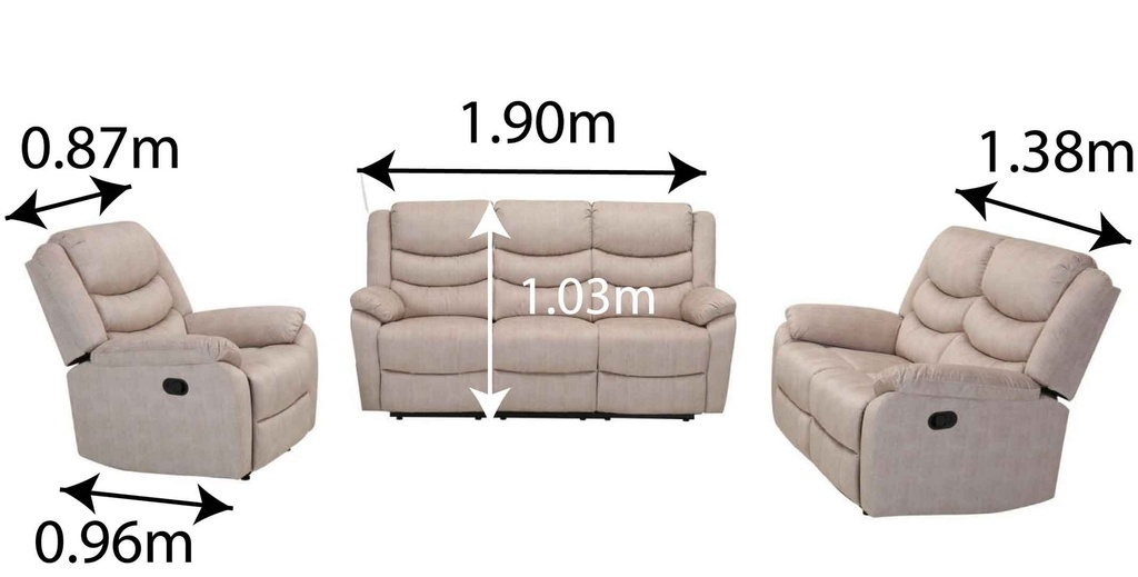 SOFA RECLINABLE TELA RR5044A-53# 3PUESTO