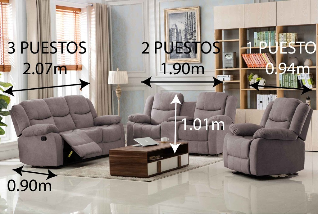 SOFA RECLINABLE TELA R9824F53# 3 PUESTOS C550#
