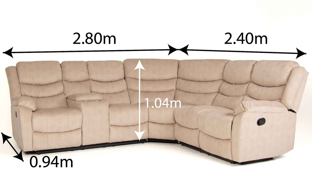 SOFA RECLINABLE OVAL TELA RR5044BF#52LC+F52R+F6IN#J289 BUFF