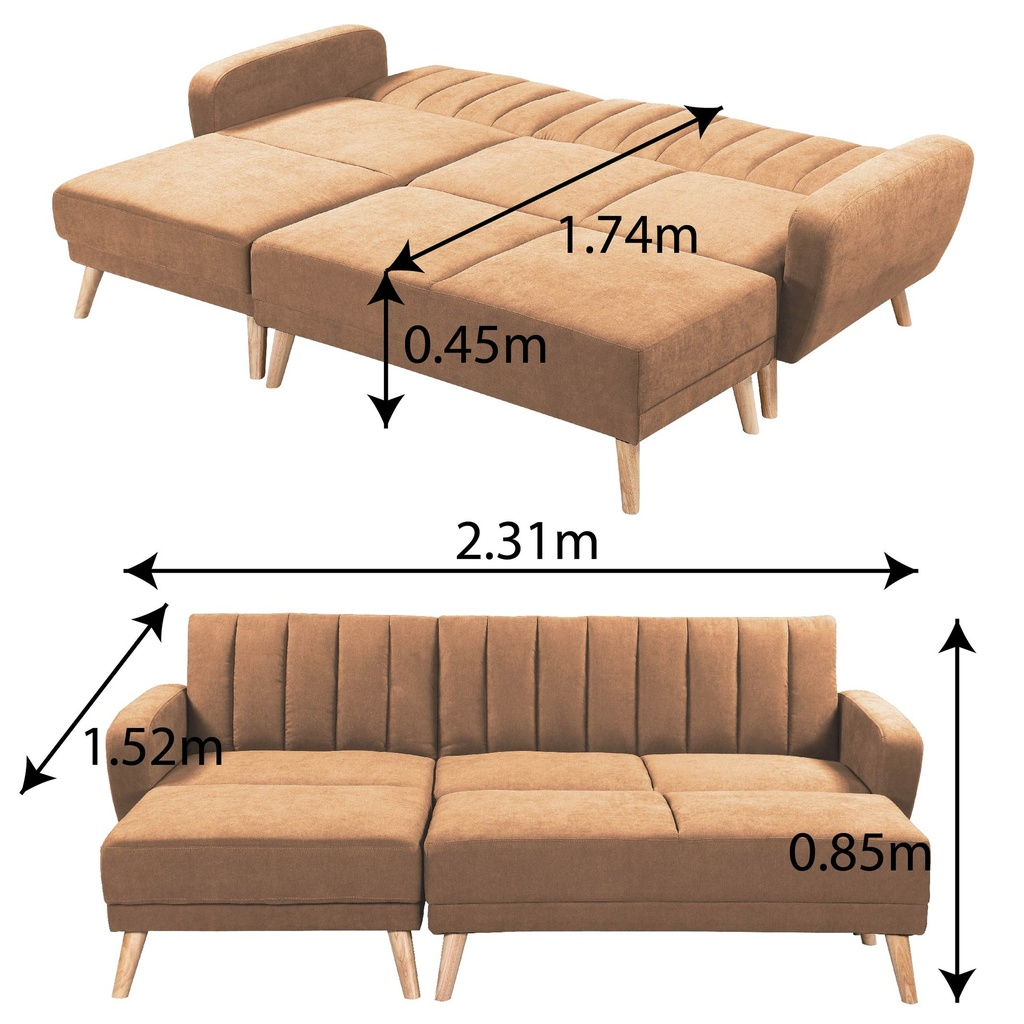 SOFA CAMA TELA ZY-665F# 1703-2# BROWN 231CM+PIECERO 4CJ