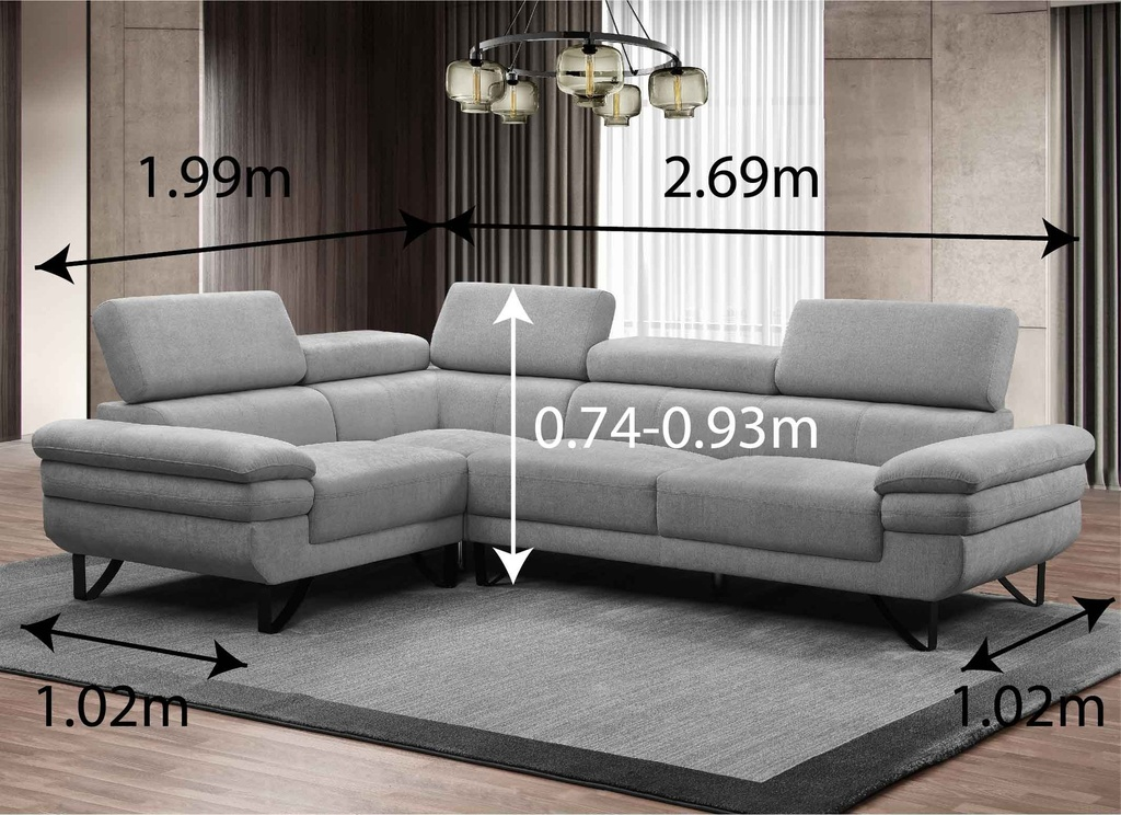 SOFA TELA L* LY8923# 2P+ESQ+1P