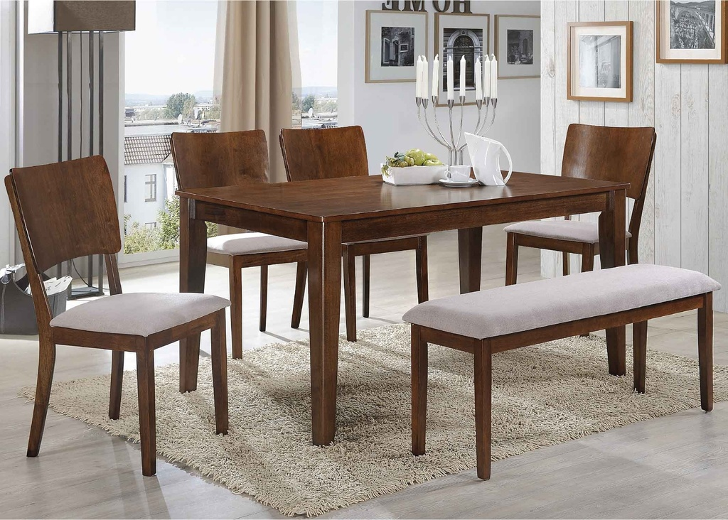 COMEDOR RECT HV-SYDNEY# 150X90CM C/4SILLAS + BANQUETA COLOR BURNISH OAK 25783#